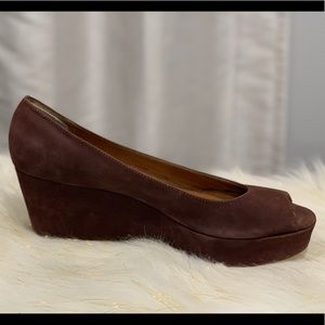 Michael Kors brown open toe wedge size 9.5